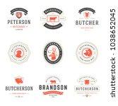 butcher shop logos set vector... | Shutterstock .eps vector #1038652045
