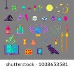 pixel art magic set. mystical... | Shutterstock .eps vector #1038653581