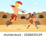 spartan warriors fighting in... | Shutterstock .eps vector #1038654139