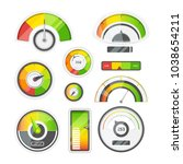 icon set of level meters ... | Shutterstock .eps vector #1038654211