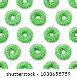 collage of green doughnuts in... | Shutterstock . vector #1038655759