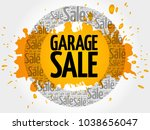 garage sale words cloud ... | Shutterstock . vector #1038656047