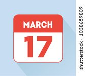 march 17 calendar red icon flat.... | Shutterstock .eps vector #1038659809
