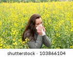 Young Woman In A Field  Has Ha...