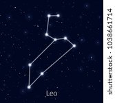 sign zodiac leo  night sky...   Shutterstock .eps vector #1038661714