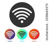wifi icon. wireless icon vector.... | Shutterstock .eps vector #1038665374