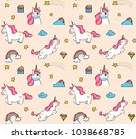 cute cartoon unicorn seamless...   Shutterstock .eps vector #1038668785