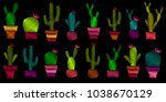 set of embroidered cacti ... | Shutterstock .eps vector #1038670129