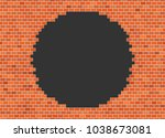vector brick broken wall... | Shutterstock .eps vector #1038673081