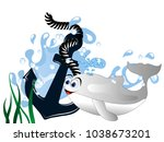 blue anchor in wave with whale... | Shutterstock .eps vector #1038673201