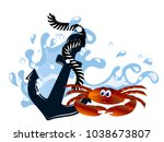 blue anchor in wave with crab... | Shutterstock .eps vector #1038673807