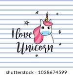 unicorn t shirt design on... | Shutterstock .eps vector #1038674599