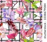 wildflower magnolia flower... | Shutterstock . vector #1038679084