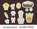 easter stickers gift tags... | Shutterstock .eps vector #1038679969