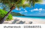 paradise island. sandy beach...   Shutterstock . vector #1038680551