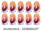 girl with different expressions.... | Shutterstock .eps vector #1038686107