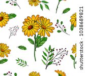 vector seamless floral pattern. ... | Shutterstock .eps vector #1038689821