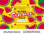 watermelon super summer sale... | Shutterstock .eps vector #1038690301