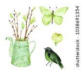hand drawn watercolor... | Shutterstock . vector #1038691354
