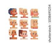 pixel art girl avatar profile... | Shutterstock .eps vector #1038695254