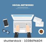 vector illustration social... | Shutterstock .eps vector #1038696604