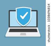 secure laptop locked. vector... | Shutterstock .eps vector #1038696814