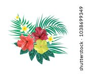 bouquet with tropical plants.... | Shutterstock .eps vector #1038699349