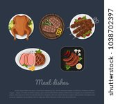 icons of meat dishes on a plate ...   Shutterstock .eps vector #1038702397