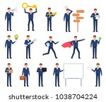 big set of businessman... | Shutterstock .eps vector #1038704224
