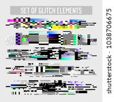 glitch effect elements set. tv... | Shutterstock .eps vector #1038706675