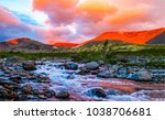 mountain river valley sunset...
