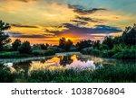 sunset rural pond fog landscape | Shutterstock . vector #1038706804
