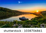 sunset river boat landscape | Shutterstock . vector #1038706861