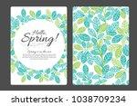 hello spring hand written... | Shutterstock .eps vector #1038709234