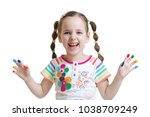 portrait of child little... | Shutterstock . vector #1038709249