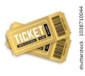 two  pair vector golden tickets ... | Shutterstock .eps vector #1038710044