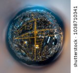 aerial view of hong kong night | Shutterstock . vector #1038710341