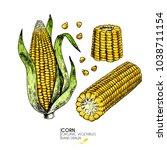 hand drawn set of farm...   Shutterstock . vector #1038711154
