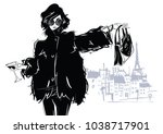 fashion girl in sketch style.... | Shutterstock .eps vector #1038717901