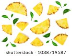 sliced pineapple with green... | Shutterstock . vector #1038719587