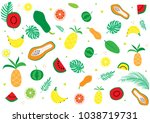 tropical fruit pattern. bright... | Shutterstock .eps vector #1038719731