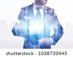 businessman on abstract city... | Shutterstock . vector #1038720445