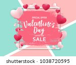 valentine s day love and... | Shutterstock . vector #1038720595