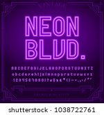 bright neon alphabet letters ... | Shutterstock .eps vector #1038722761