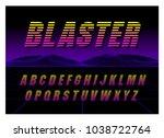 80's retro futurism style font. ... | Shutterstock .eps vector #1038722764