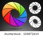 aperture color wheel 3d logo. | Shutterstock .eps vector #103872614