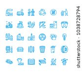 recycling flat line icons.... | Shutterstock .eps vector #1038728794