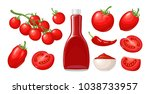 ketchup bottle  chilli  tomato... | Shutterstock .eps vector #1038733957