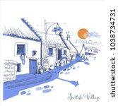 scottish village  hand drawn...   Shutterstock .eps vector #1038734731