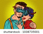 couple in love with virtual... | Shutterstock .eps vector #1038735001